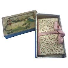 Antique Intricate Cut Work Sewing Needle Case Book Pink Silk Ribbon in Orig Box