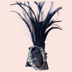 Antique Flapper Roaring 20s Era Rhinestone and Feather Plume Hair Jewelry
