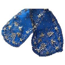Elegant Antique Gold Thread Black Net Evening Head Neck Scarf Shawl Wrap