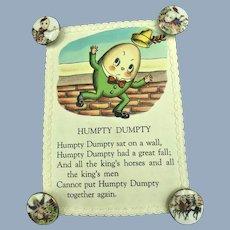 Vintage Humpty Dumpty Nursery Rhymes Sewing Button Display Card
