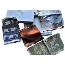 (4) Vintage Bonwit Teller French Silk Gold Thread Scarf Kerchief Ascot Lot Mint in Box
