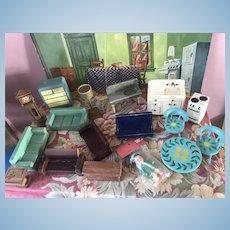 18Pc Vintage Wood Dollhouse Furniture Miniature Kage Strombecker Doll Lot