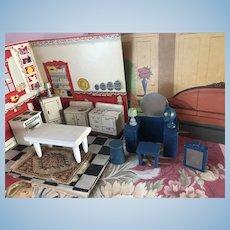 Vintage Kage Wood Dollhouse Doll Furniture Lamp Fan Barrel etc. Miniature Lot 13Pc.