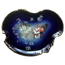 Antique French Limoges Cobalt Blue Gold Vanity Perfume Hand Painted Elegant Tray