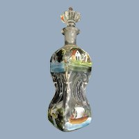 Antique Folk Art Painted Swan Ship Windmill Flower Glass Vanity Perfume Bottle