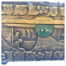 Old Asian Chinese Carved Wood Document Jewelry Tea Box