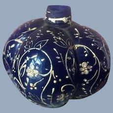 Antique Perfume Bottle Gold Gild Enameled Cobalt Blue Bottle Victorian
