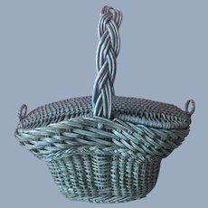 Antique Vintage Blue Paint Primitive Folk Art Woven Basket