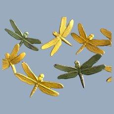 14 Antique Curtain Cast Iron Garden Dragonfly Tie Backs  Thumb Tacks Push Pins