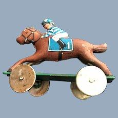 3 Antique Metal Jockey Race Horse Board Game Piece Dollhouse Miniature Penny Toy