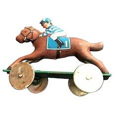 Antique Metal Jockey Race Horse Kentucky Derby Dollhouse Miniature Penny Toy