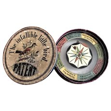 Antique 1850 Infallible Little Bird Compass Spinning Needle Dexterity Toy Game