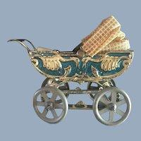 Antique French Blue Marklin Type Bird Motif Baby Doll Pram Carriage