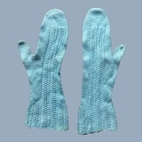 Old Intricate French Blue Doll Mittens