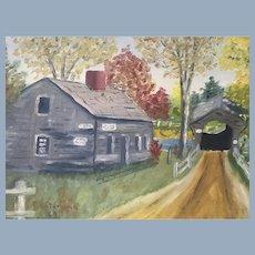 Vintage Covered Bridge Oil Barn Board Framed Folk Art Painting signed & dated