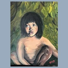 A+ Vintage Disney Jungle Book Mowgli Native Boy Child Oil Painting signed Rupp