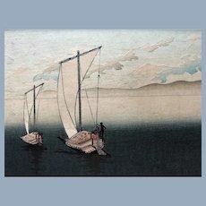 Antique 19C Hiroshige Hasui Japanese Wasen Sailboat Woodblock Print