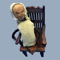 Old Folk Art Walnut Nut Doll Homespun Detail in Antique Wood Dollhouse Chair