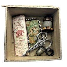 Antique Tunbridge Wax Pincushion Needle Case Thimble Scissor Silk Sewing Box Lot