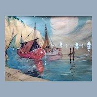 John Vander Vanderbilt Seascape Sailboat Painting Paris NY Art Exhibition Label