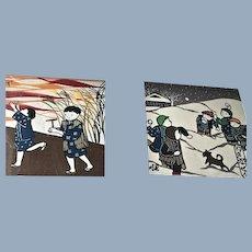 2 Vintage Senga Japanese Hand Dyed Textile Modern Art Children Playing in Snow