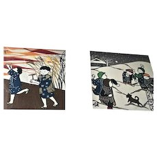 2 Vintage Senga Japanese Hand Dyed Textile Modern Art Children Playing in Snow