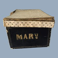 Unusual Antique 19C Child or Doll perhaps Band Box Hat Box marked MARY
