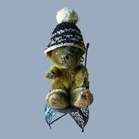 Old Vintage Intricate Wool Knit Doll Teddy Bear Hat with Large Pom Pom
