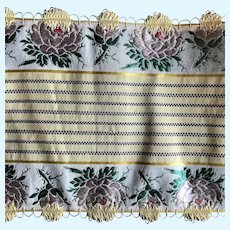 Elegant Antique French Silk Floral Ribbon Trim Doll Clothes Pink Yellow Yardage