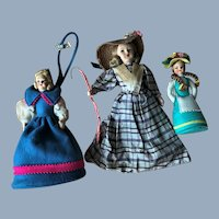 3 Vintage Cloth Felt Lenci Type Bo Peep & Doll Purse etc. Lot Italian Italy Label
