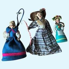 3 Vintage Cloth Felt Lenci Type Bo Peep & Doll Purse etc. Lot Italian Italy Label
