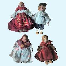 Vintage Russian Cloth (4) Doll Dollhouse Miniature Family