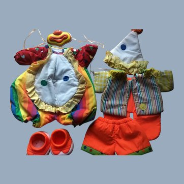 Vintage (2) Mint Cabbage Patch Doll Clown Outfits Mask & Shoes