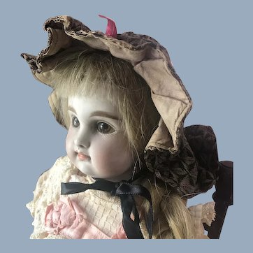 Antique French German Doll Poke Bonnet Hat