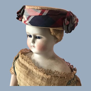 Antique French Doll Patriotic Red White & Blue Ribbon Rosette Chapeau Hat