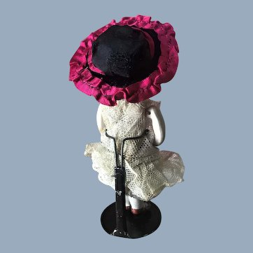 Antique Mignonette Magenta Silk & Velvet French Doll Hat Chapeau
