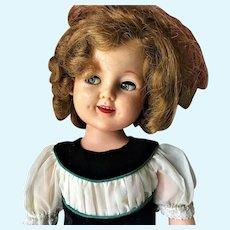 "1950s Shirley Temple 19"" Doll with Flirty Eyes in Original Velvet Dress"