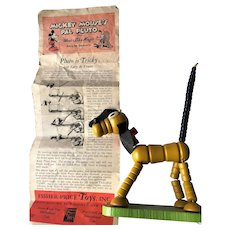 1936 Mickey Mouse's Pal Pluto Fisher Price Toy w Original Directions Pamphlet