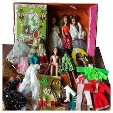 Vintage 1970s Mod Topper Dawn Black American etc. Doll Lot with Wardrobe & Case