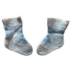 Old Vintage Blue Wool Knit Argyle Doll Socks Stockings