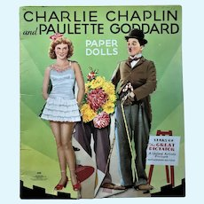 1941 Charlie Chaplin & Paulette Goddard Paper Dolls Saalfield Only Partially Cut