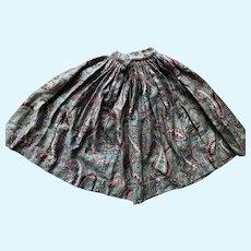 Antique Papier Mache China Wood etc. Doll Paisley Skirt hand sewn