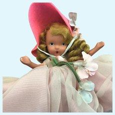Nancy Ann Story Book Bisque Sabbath NASB Doll in Sunday Best Fancy Pink Gown