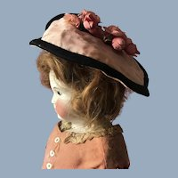 Pretty Antique Pink Flower French German Doll Hat