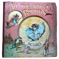 "Antique ""All the Way Round Pictures and Rhymes"" Mechanical Nister Children's Book"