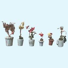 Old Vintage Dollhouse Miniature Potted Flower Garden Plants in Pots