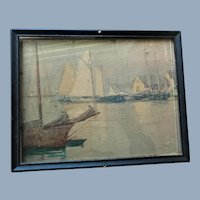 John K Thurston Gloucester Art Five Pound Island Painting with Provenance signed