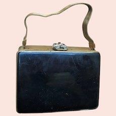Chic Vintage Black Patent Gold Mesh Handle & Gemstone Volupte Purse Compact