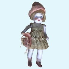 "Antique 4"" All Bisque Miniature German Dollhouse Doll in Christmas Holiday Stocking"