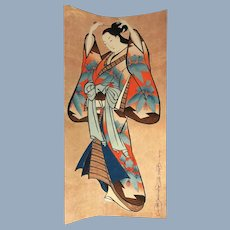 Vintage Japanese Woodblock Geisha with Kanzashi Hair Pins Print
